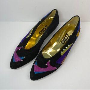 Zalo Vintage Suede Shoe Print Sparkle Flats